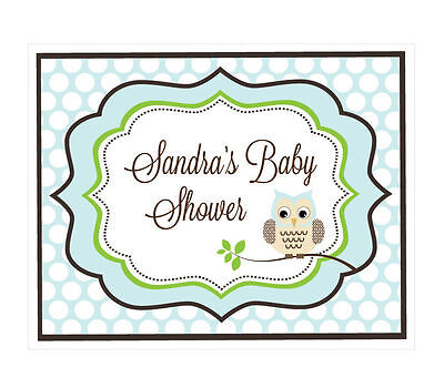 Personalized Blue Owl Theme Sign Baby Shower Decoration
