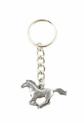 Horse Galloping Fine Pewter Silver Keychain Key Chain Ring
