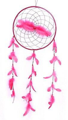 New Large Red Pink Dream Catcher Handmade With String Feather Car Wall Decor Iw