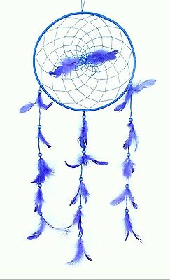 Large Royal Blue Dream Catcher Handmade String Feather Car Home Wall Decor