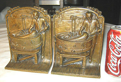 Antique Bronze Industrial American Tire Factory Steampunk Oil Sign Man Bookends