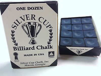 Quality USA Silver Cup Pool Snooker Billiard Cue Tip Table Chalk DARK BLUE