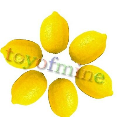 6 Pcs Lemon Artificial Fruit Fake Theater Prop Staging Home Decor Faux Lemons