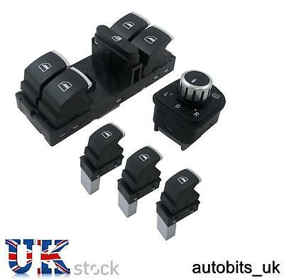 5 Pcs Set Of Chrome Window Mirror Switch Control For Vw Passat Golf Mk5 6 Jetta
