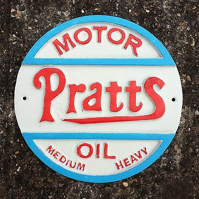 Heavy Duty Cast Iron Vintage style PRATTS MOTOR OIL Sign / Plaque