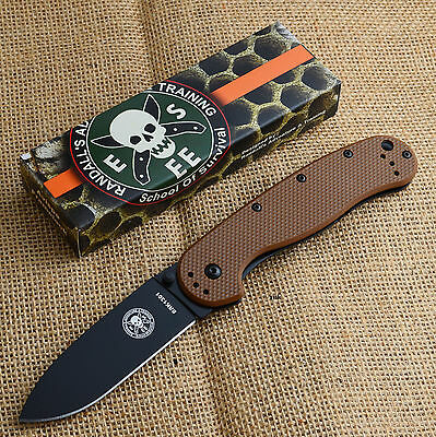 ESEE Avispa Coyote Brown FRN Handle Black AUS-8 Framelock Knife BRK1301CBB