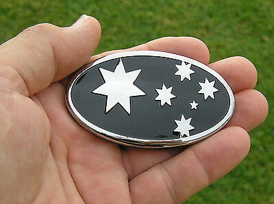 AUSSIE 75mm BLACK SOUTHERN CROSS FLAG BADGE - Metal Emblem *NEW* HOLDEN Ute