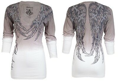 Archaic AFFLICTION Womens LS T-Shirt SPIRIT Wings GREY Biker Sinful UFC $58