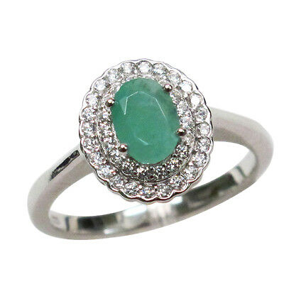 Classy 1 Ct Genuine African Emerald 925 Sterling Silver Ring Size 5-10
