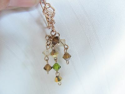 Vintage rose gold wire pierced earrings green crystals