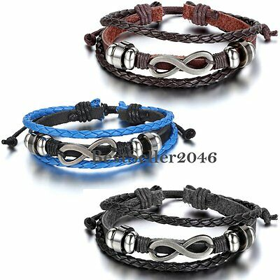 Charm Infinity Love Symbol Wrap Multilayer Braided Leather Adjustable Bracelet