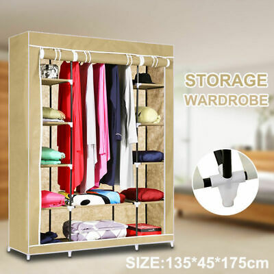 Large Space Storage Portable Bedroom Double Wardrobe Stable Easy Assemble