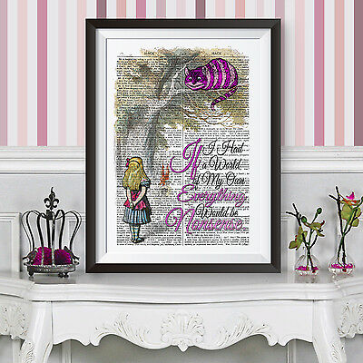 ALICE IN WONDERLAND poster print Pink Cheshire Cat WALL ART DECOR DICTIONARY