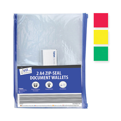Paquet de 2 A4 Fermeture Zip Transparent Document Archivage PLASTIQUE