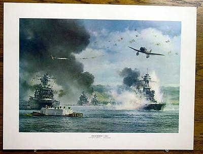 Pearl Harbor Dec 7 1941 USS Nevada Under Way R G Smith 19 x 25 Color Print