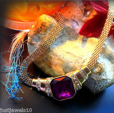 Art Deco Necklace Dull Gold Chain Unusual Vintage Style Jewellery Amethyst Glass