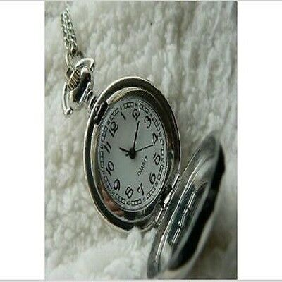 Unusual gift for her Pocket Watch Necklace Vintage Gold Finch birds Silver chain