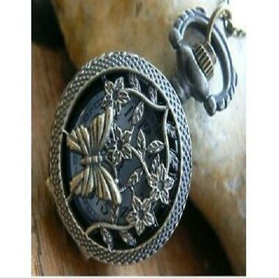 Unusual gift for her Pocket Watch Necklace Vintage Bronze butterfly Filigree