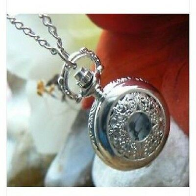 Unusual gift for her Pocket Watch Necklace Vintage Filigree Silver Posh present
