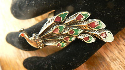 Vintage Gold Peacock Long Ring RARE Art Deco Retro unusual gift classics