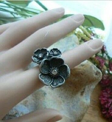 Ring trio flower Unusual Gift for her Summer Bohemia Art Deco crystal Victorian