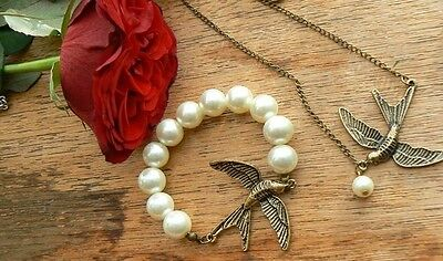 Unusual Gift for her Bracelet Necklace set Pearl Swalow Charm Victorian Present