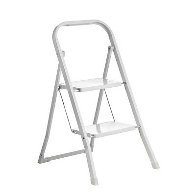 Premier Housewares 2 Step Ladder Foldable Square White Finish Coated Metal Tube