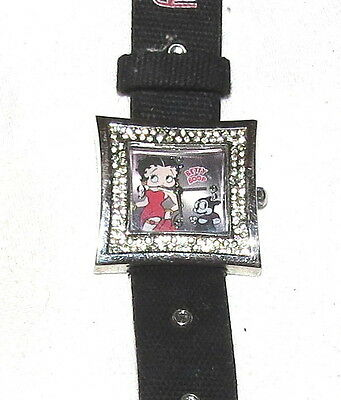 Betty Boop Ladies Watch Square Face Crystals Black Strap NEW