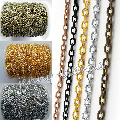 2-100M Silver Gold Bronze Cable Open Link Iron Metal Chain Making Craft 3x2mm