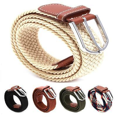 Stylish Mens Leather Covered Buckle Woven Elastic Stretch Golf Wide Canvas Belts