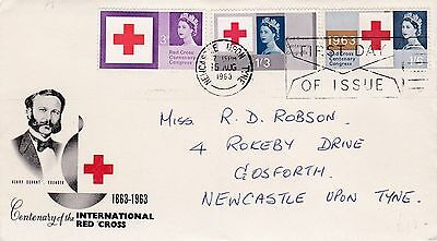 GB 1963 Red Cross ORD FIRST DAY COVER Newcastle On Tyne POSTMARK Ref:530