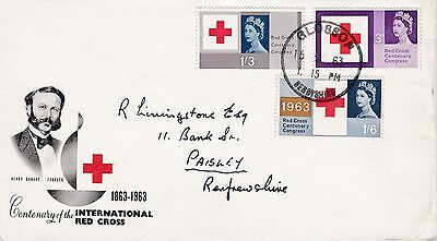 GB 1963 Red Cross Set SG642-644 FIRST DAY COVER Glossop Rubber POSTMARK Ref:529