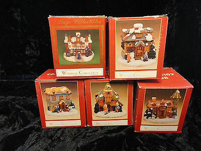 Windsor Collection 5 Houses Train set Village Collectibles