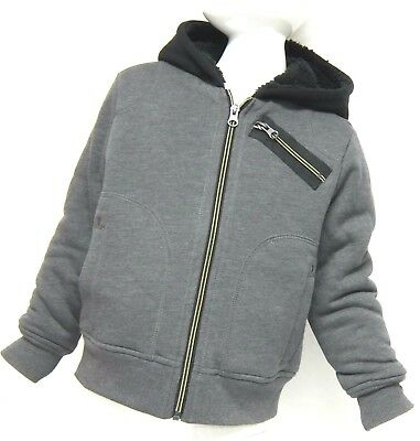 BC Clothing Boys' Grey Hooded Jacket, Small 5-6 Years, Fleece Lined Hoodie BNWT