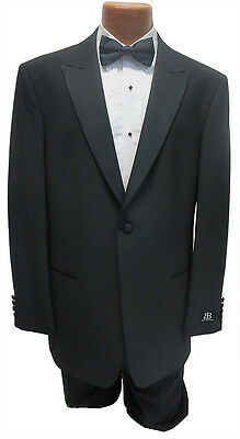 NEW Mens Bagir 40R Black 1 Button Peak Tuxedo Jacket & Pants Formal Wedding