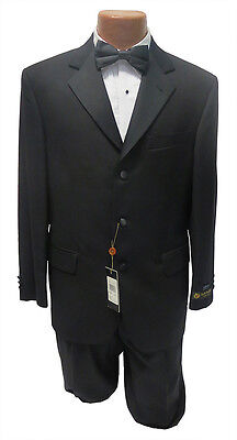 NEW Mens Lubiam 38S Black 3 Button Notch Tuxedo Jacket & Pants Formal Wedding