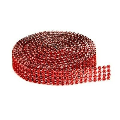 4-row Darice BLING ON A ROLL - RED Mesh Ribbon - 0.62 In x 3 Yards