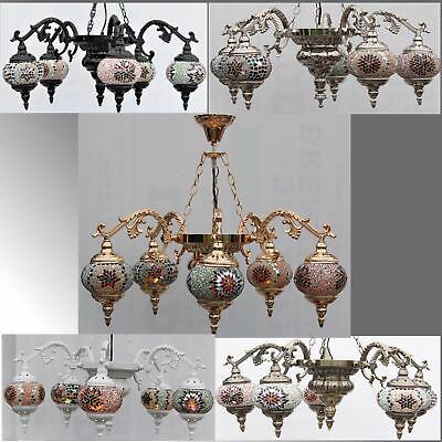 Turkish Lamp Ceiling Light, 5 Arms Glass Mosaic Moroccan Mosaic Colour