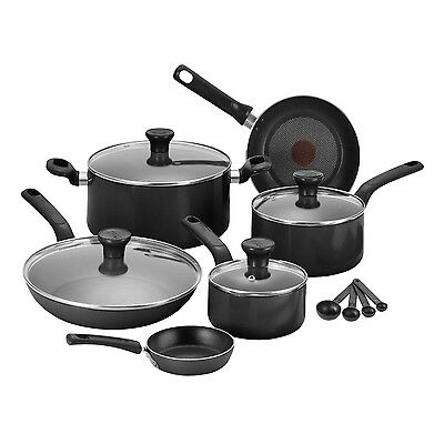 Tefal C719S744 7 Piece Cookware Thermo Spot Non Stick High Gloss Pan Set - Black