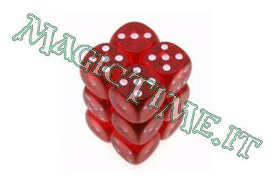 Set 12 dadi 16 mm CHESSEX Translucent Red w/White Rosso Bianco 23604 Dice CHX
