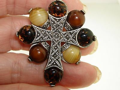 Vintage Miracle Polished Agate Silver Celtic Cross Pin/pendant!