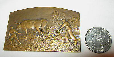 Antique 1900 L. Coudray French Art Bronze Country Farm Medal Plaque Medallion