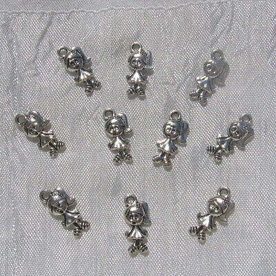LOT 7 BRELOQUES CHARMS FEE FILLE PERLES DOUBLE FACE METAL ARGENTE 12x19mm *B235