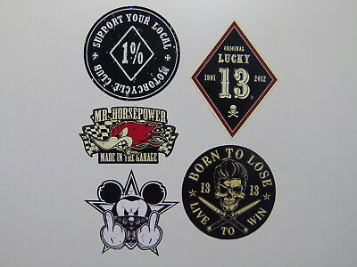 5er Set Hardcore Oldschool Retro Aufkleber / Sticker Harley Bobber 1% Outlaws