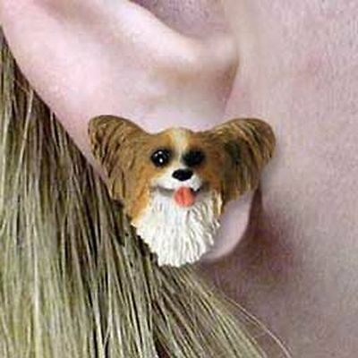 PAPILLON Papillion Brown White Tiny One Dog Head Post Earrings Jewelry