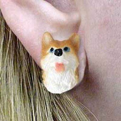 HUSKY Red & White Tiny One Dog Head Post Earrings Jewelry