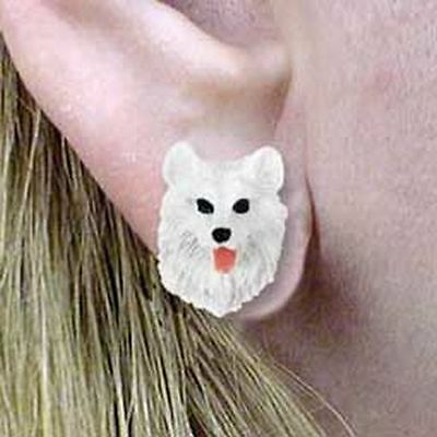 SAMOYED Tiny One Dog Head Post Earrings Jewelry