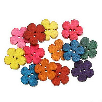 50PCs New Buttons Floral Petal Pattern Mixed 2 Holes Button DIY Crafts 19x18mm