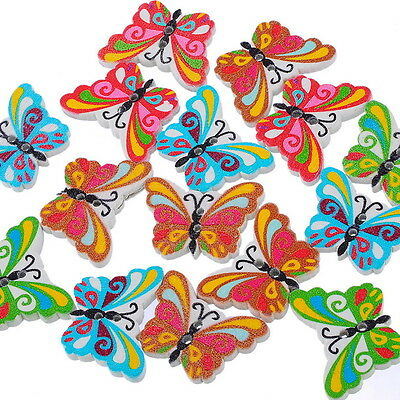 50PCs New Colorful Butterfly 2 Holes Mixed Wooden Sweing Button Tailoring Button