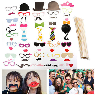 New 58 Pcs DIY Photo Booth Props Mustache on A Stick for Weddings Birthday Party